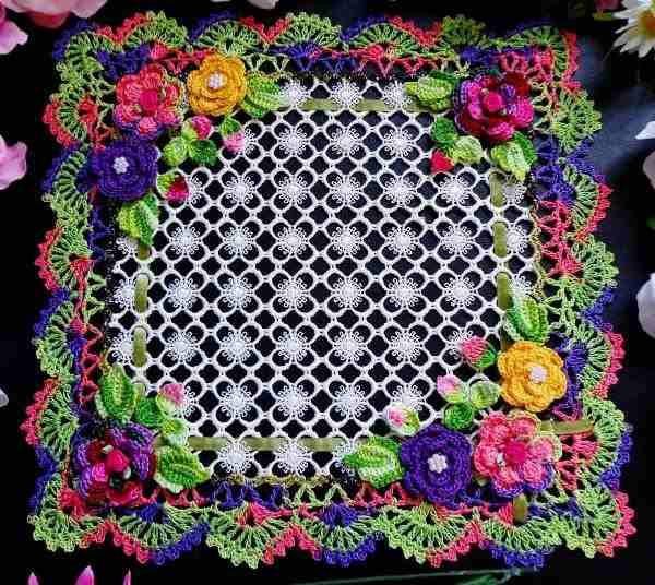 dantel çiçek işlemli örtü