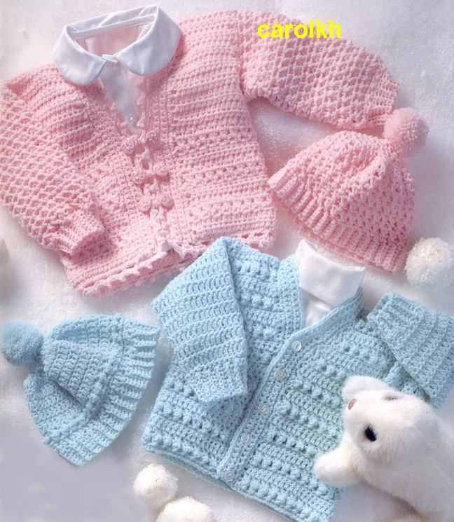 pembe ve mavi renklerde bebek hırka ve şapkası