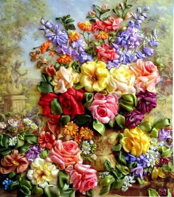 rengarenk çiçeklerle kurdele nakışı