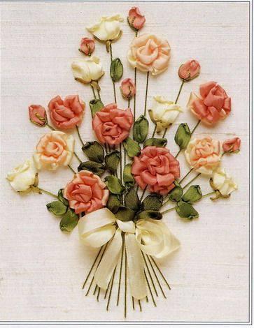 turuncu krem çiçekler kurdele nakışlı