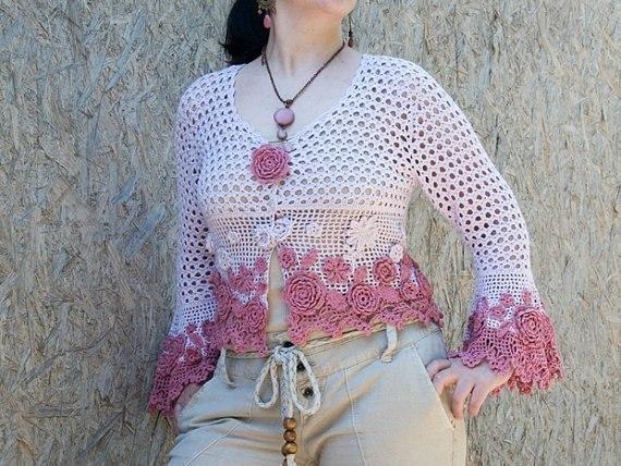 1 tığ işi motifli örgü bayan bluz