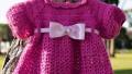Fuşya Örgü Bebek Elbisesi Tarifi