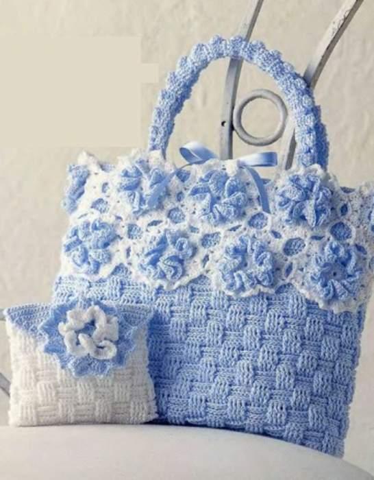 kesme şeker modeli mavi çiçek motifli çanta