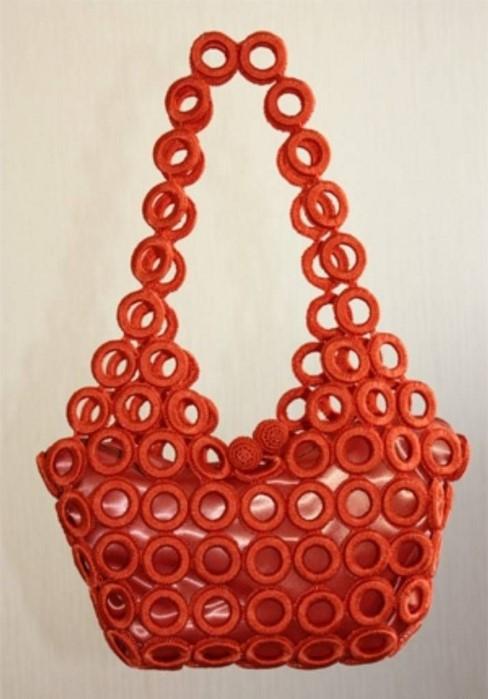 sık iğneli turuncu çanta