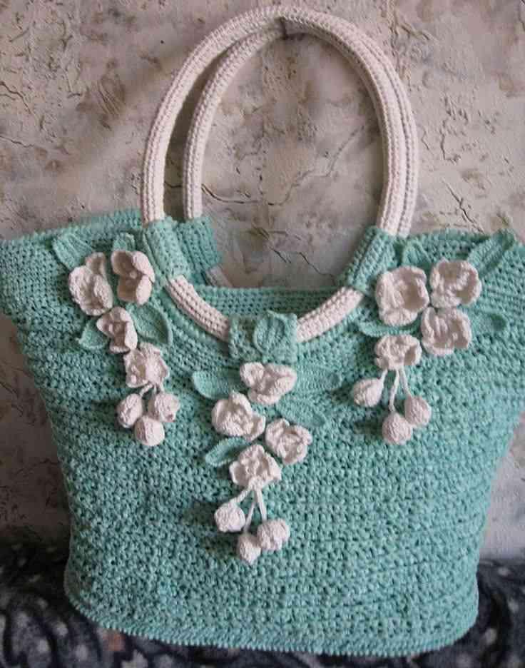 turkuaz krem çiçek motifli çanta