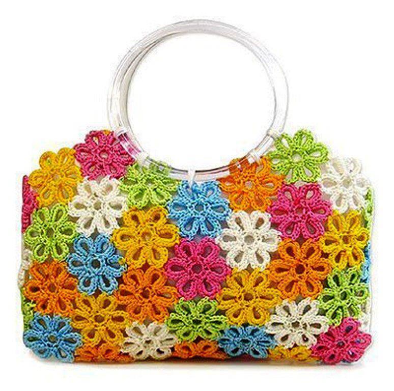 çiçek motifli örgü yazlık çanta