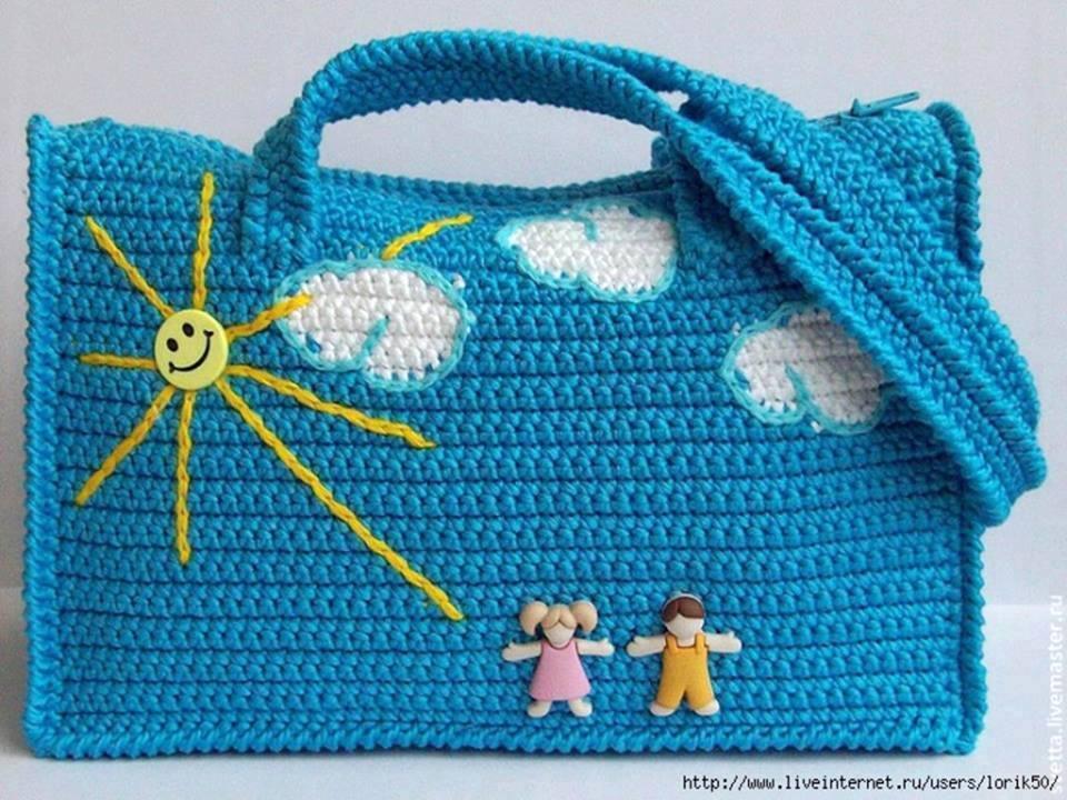 güneşli örgü çocuk çantası