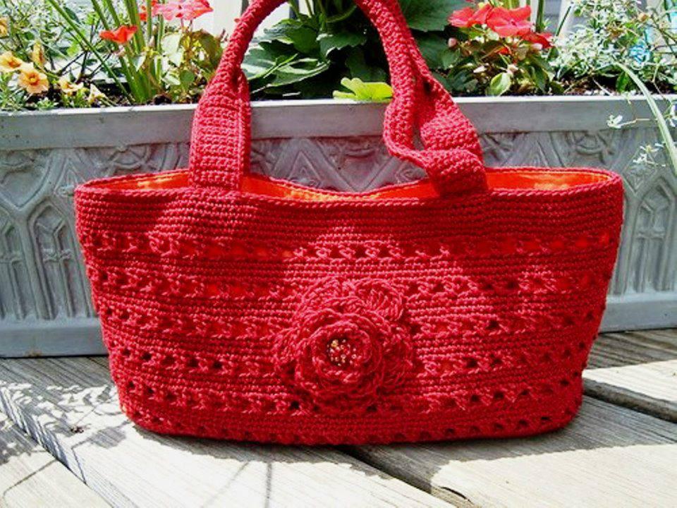kırmızı örgü sepet çanta